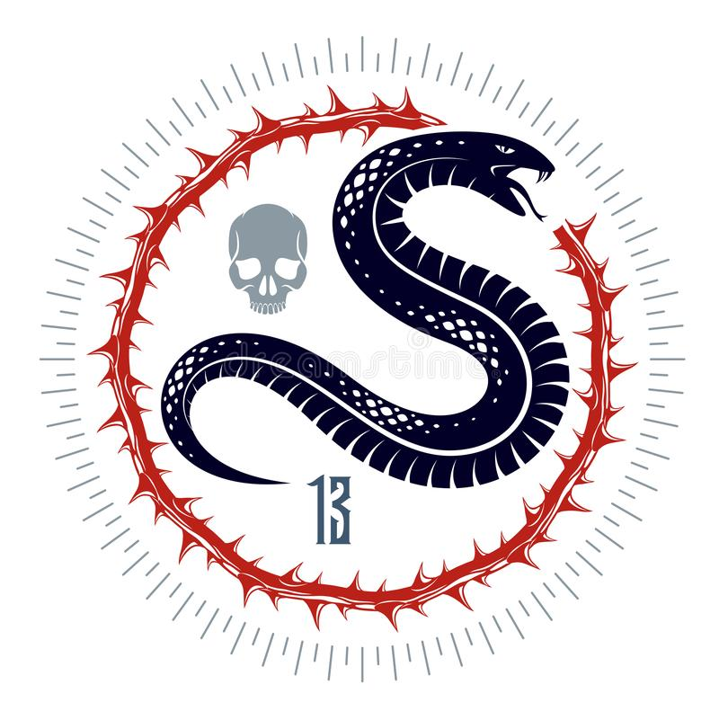 Emblema o tatuaje, serpiente peligrosa del veneno mortal, estilo animal del logotipo del vector de la serpiente del vintage del r stock de ilustración