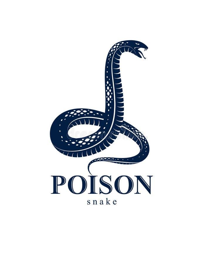 Emblema o tatuaje, serpiente peligrosa del veneno mortal, estilo animal del logotipo del vector de la serpiente del vintage del r libre illustration