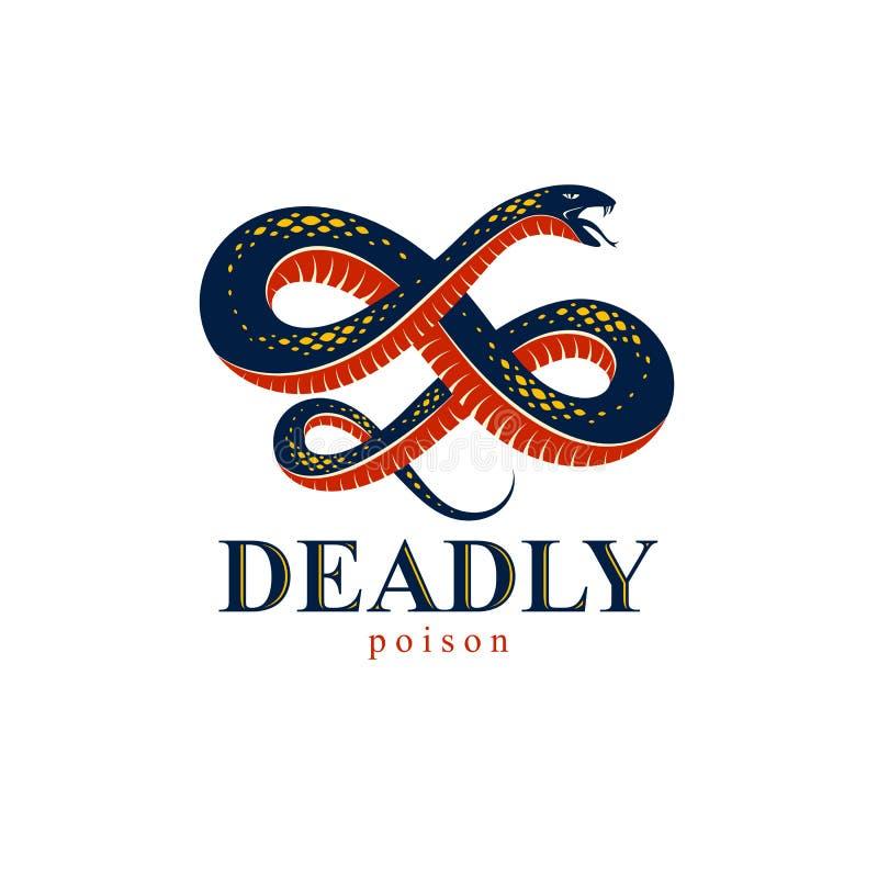 Emblema o tatuaje, serpiente peligrosa del veneno mortal, estilo animal del logotipo del vector de la serpiente del vintage del r ilustración del vector