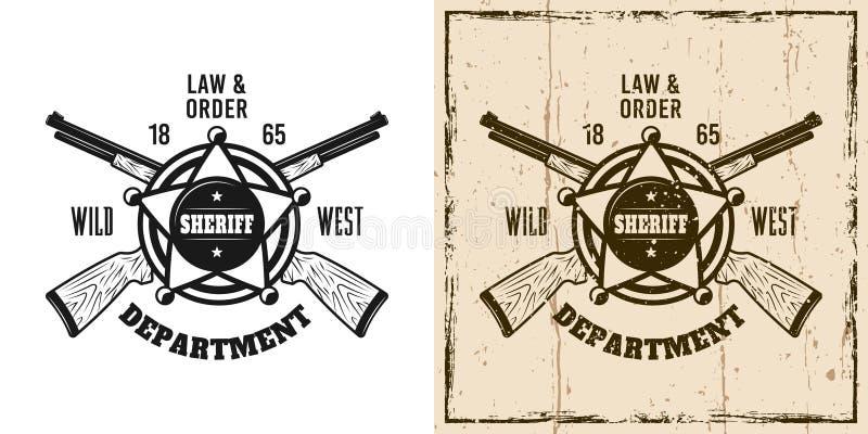 Emblema ocidental do vetor do xerife, crachá, etiqueta, logotipo ilustração stock