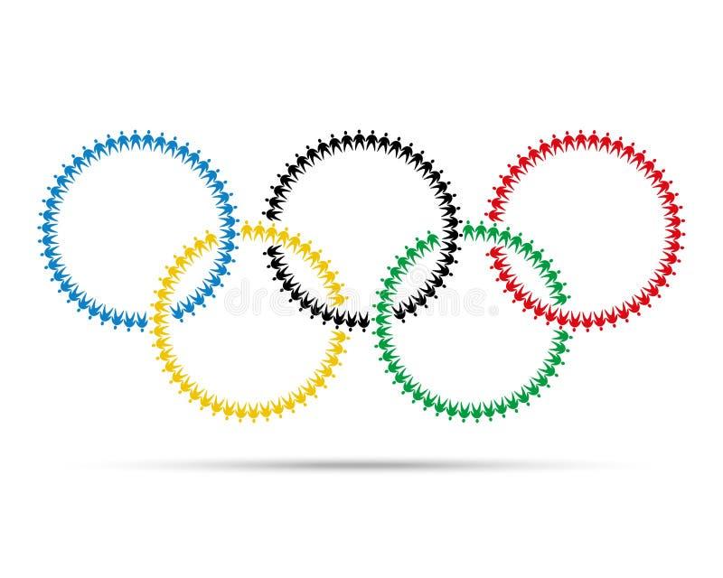 Emblema olimpico variopinto fatto con l'immagine grafica dell'icona della gente illustrazione di stock