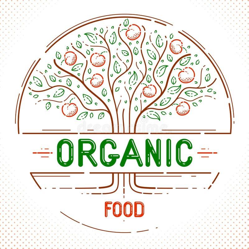 Emblema orgánico natural hermoso de la comida de la granja del árbol frutal de la manzana, dibujo linear del estilo ilustración del vector