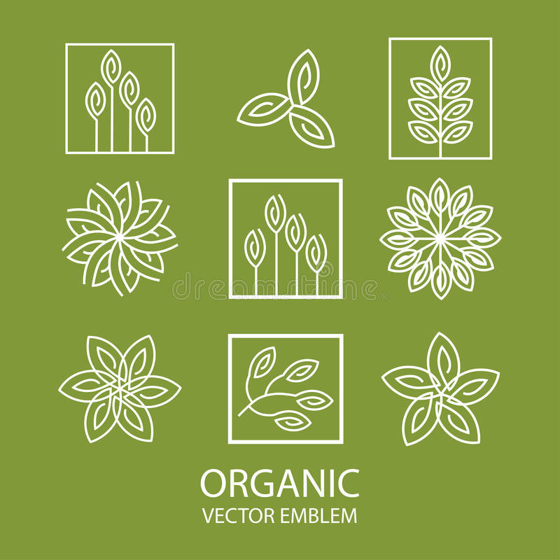 Emblema orgânico abstrato ajustado do vetor, monograma do esboço, símbolo da flor ilustração do vetor