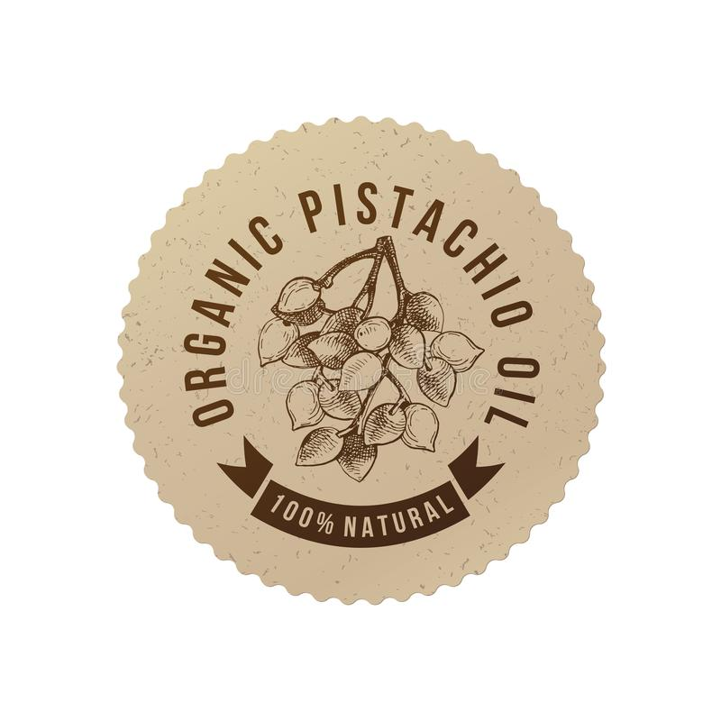 Emblema orgânico do óleo do pistache ilustração royalty free