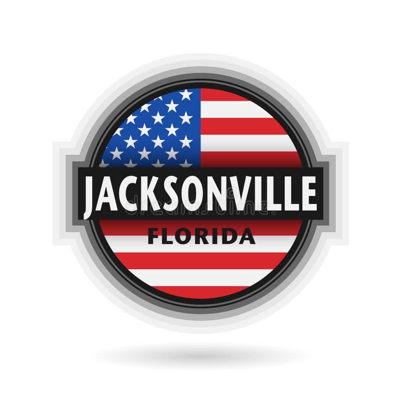 Emblema ou etiqueta com nome de Jacksonville, Florida ilustração do vetor