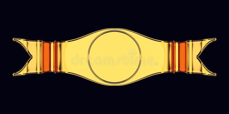 Emblema ou etiqueta vazia dourada com forma redonda ilustração do vetor