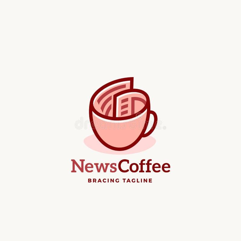 Emblema ou Logo Template do sinal do vetor do sumário do café da notícia Rolo do jornal como um conceito do copo de café com tipo ilustração stock