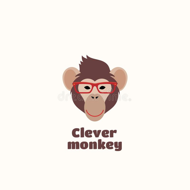 Emblema ou Logo Template inteligente do sinal do vetor do macaco ilustração royalty free