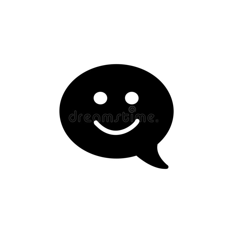Emblema plano del diseño de la opinión con la burbuja y el smiley del discurso ilustración del vector