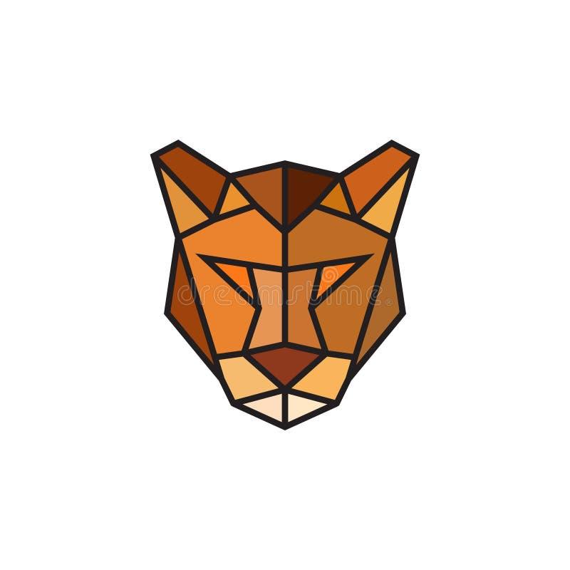 Emblema poligonal do puma isolado no fundo branco ilustração stock