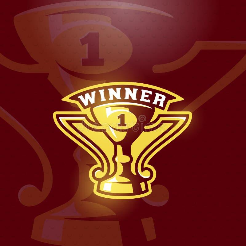 Emblema premiado do copo do vencedor Sinal, símbolo ou Logo Template do troféu do esporte do vetor ilustração royalty free
