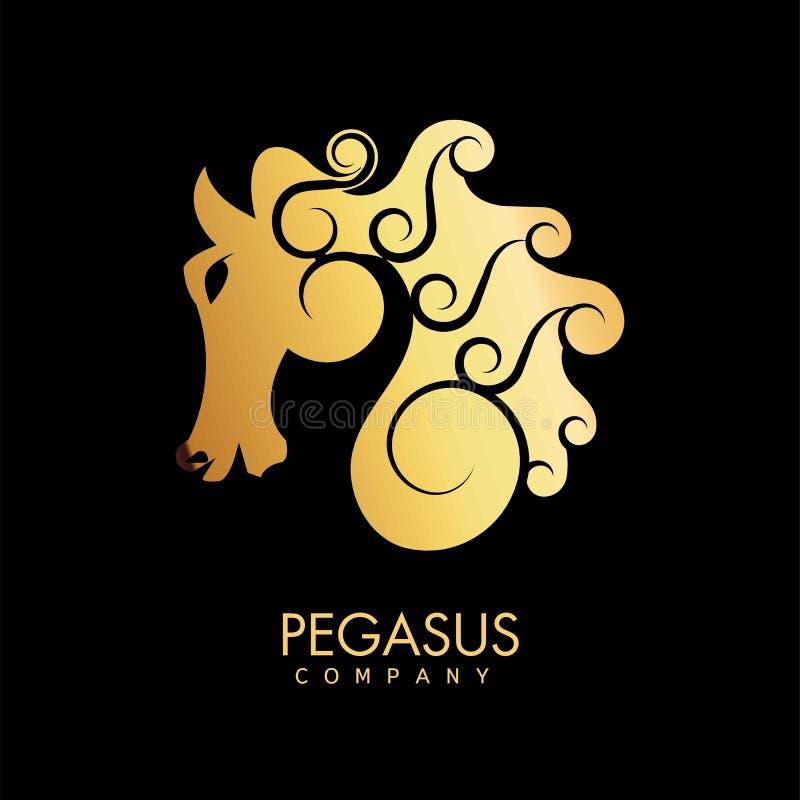 Emblema promozionale dell'oro della società di Pegaso con il profilo mitico del cavallo royalty illustrazione gratis