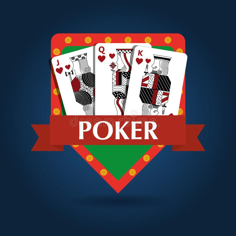 Emblema real do risco do jogo da combinação do cartão do pôquer ilustração stock