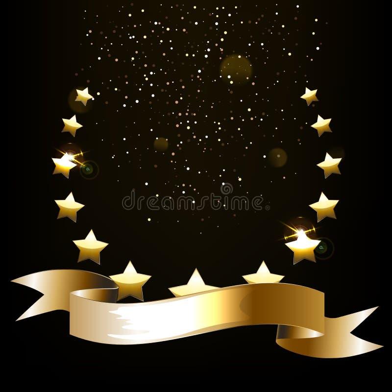Emblema real?stico da estrela do ouro com espa?o do texto ilustração royalty free