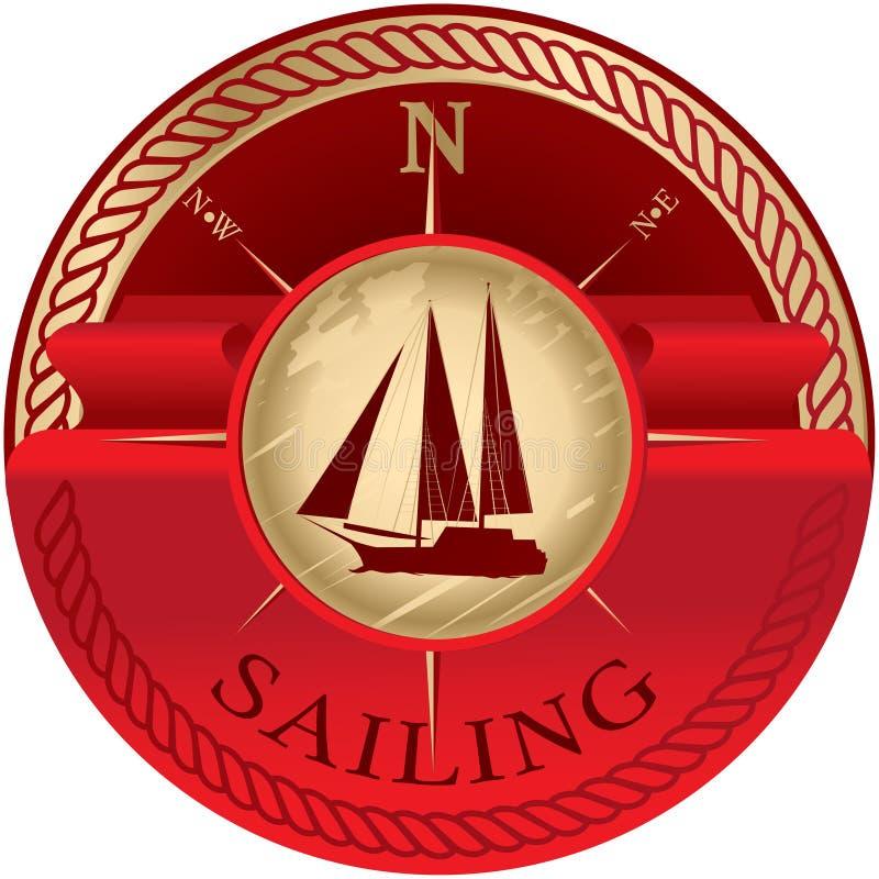 Emblema redondo com a fita vermelha para o texto e o veleiro ilustração do vetor