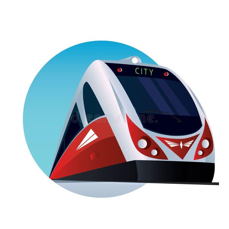 Emblema redondo con un tren de pasajeros moderno stock de ilustración