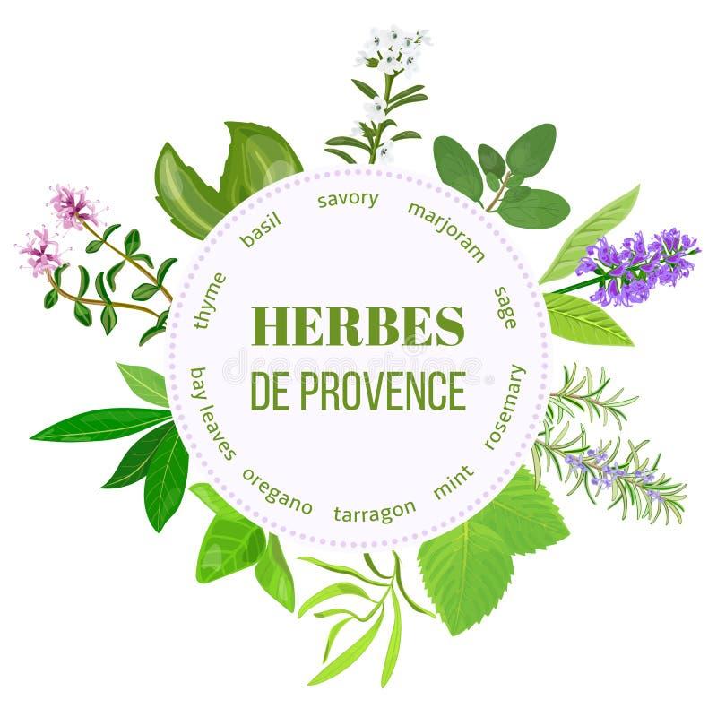 Emblema redondo de Herbes de provence ilustração royalty free