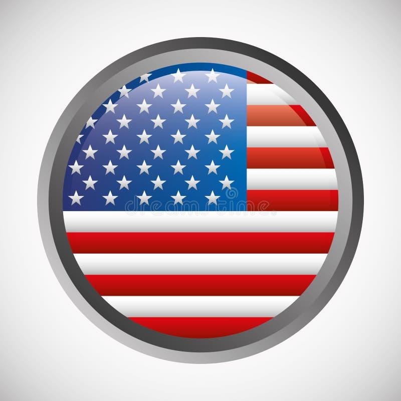 Emblema redondo de la bandera de Estados Unidos stock de ilustración