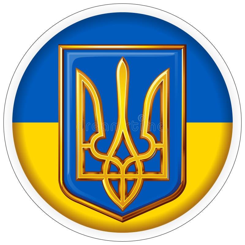 Emblema redondo de la etiqueta engomada de Ucrania en el fondo de la bandera nacional foto de archivo libre de regalías