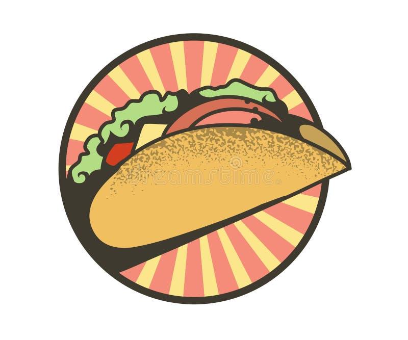 Emblema redondo de tacos stock de ilustración