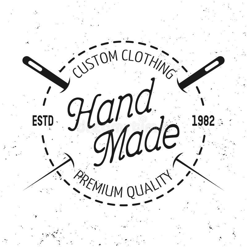 Emblema redondo do preto do vetor da loja do alfaiate com ponto ilustração stock