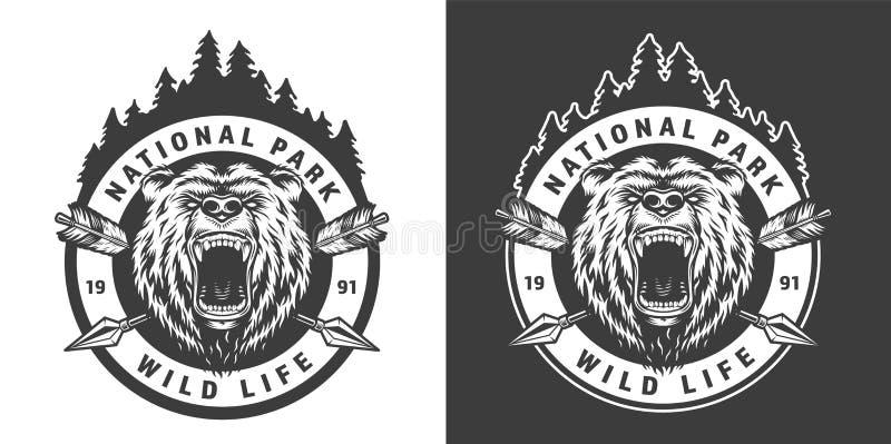 Emblema redondo monocromático do parque nacional do vintage ilustração stock