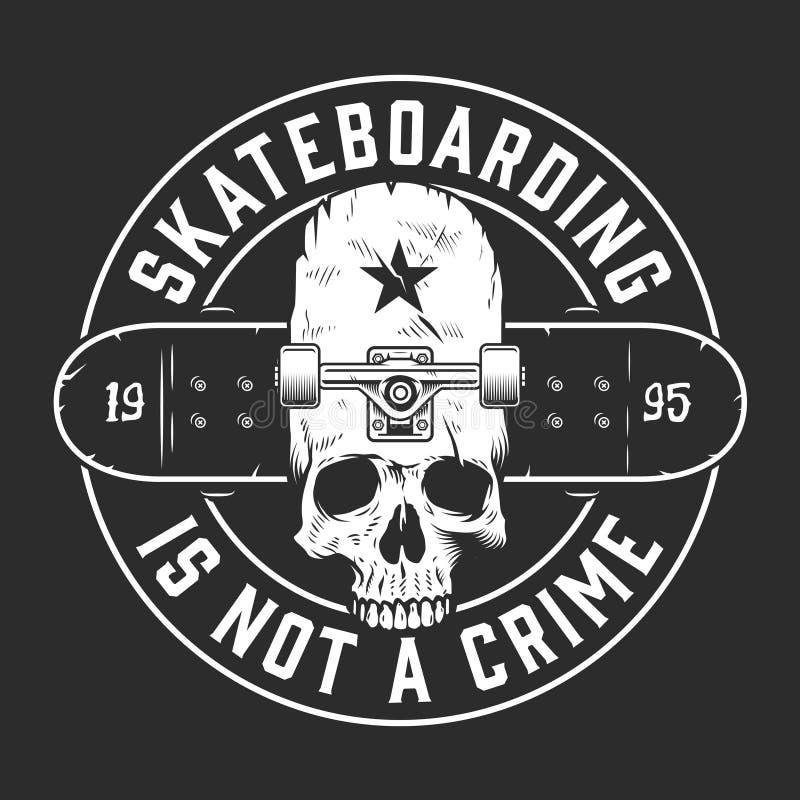 Emblema redondo monocromático skateboarding do vintage ilustração do vetor