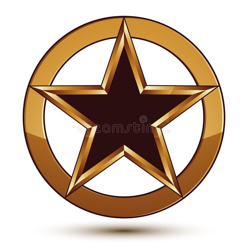 Emblema refinado da estrela do preto do vetor com esboço dourado ilustração do vetor