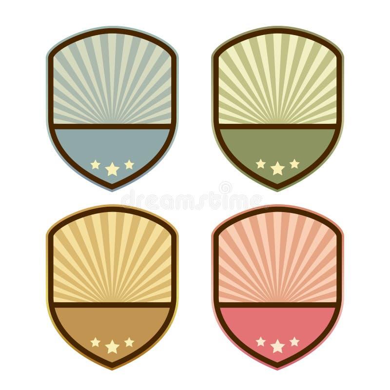 Emblema retro abstracto del escudo stock de ilustración