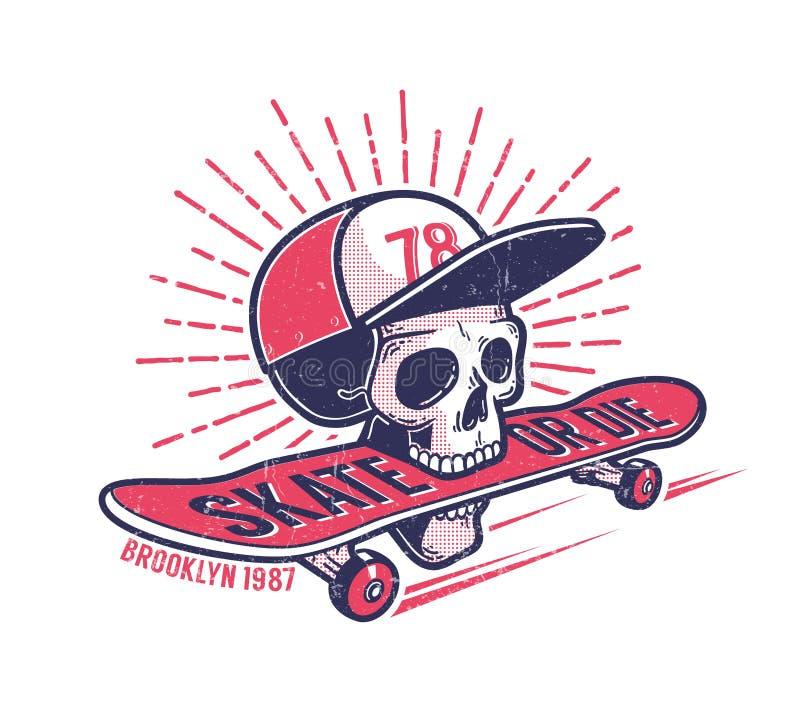 Emblema retro autêntico skateboarding da rua da juventude fresca com o crânio no boné de beisebol ilustração royalty free