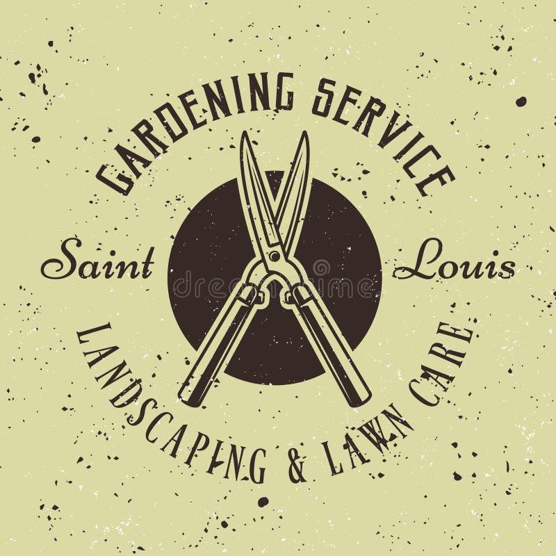 Emblema retro de jardinagem do vetor do serviço com tesoura de podar manual ilustração royalty free