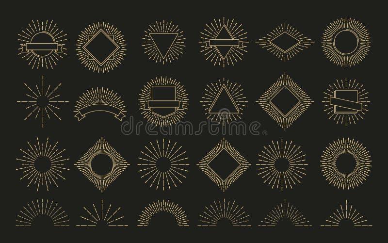 Emblema retro de la parte radial de la explosión del resplandor solar del oro formas de la chispa de la salida del sol La sol, br stock de ilustración
