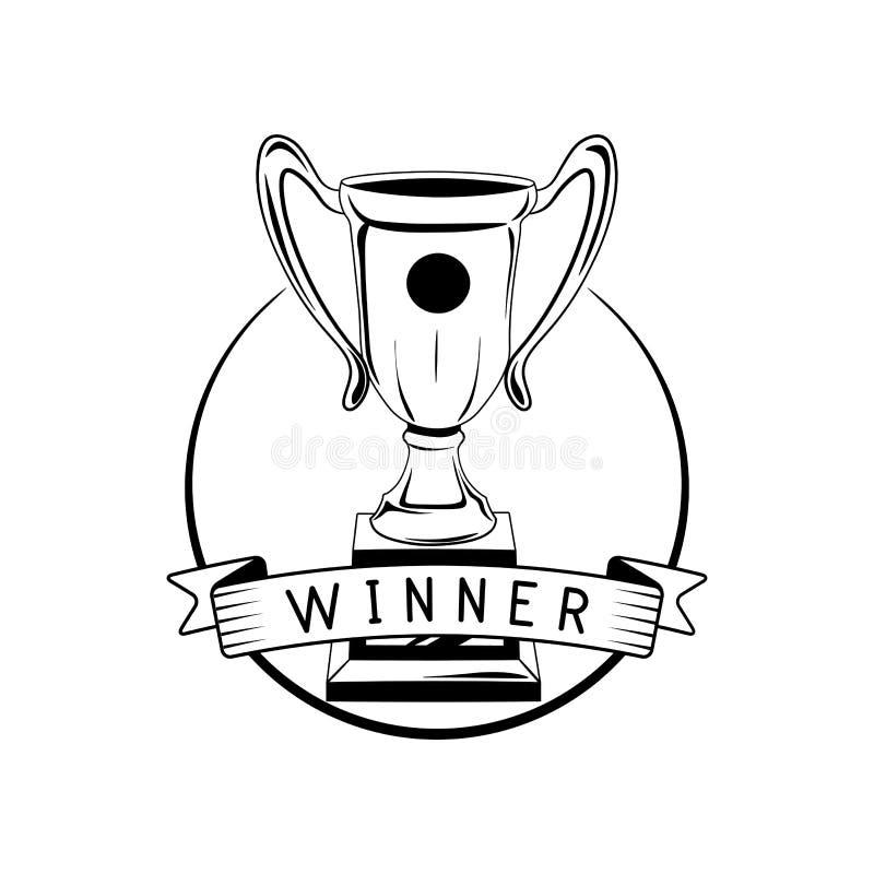 Emblema retro del ganador Etiqueta del premio del trofeo de la taza Ejemplo del vector en blanco stock de ilustración