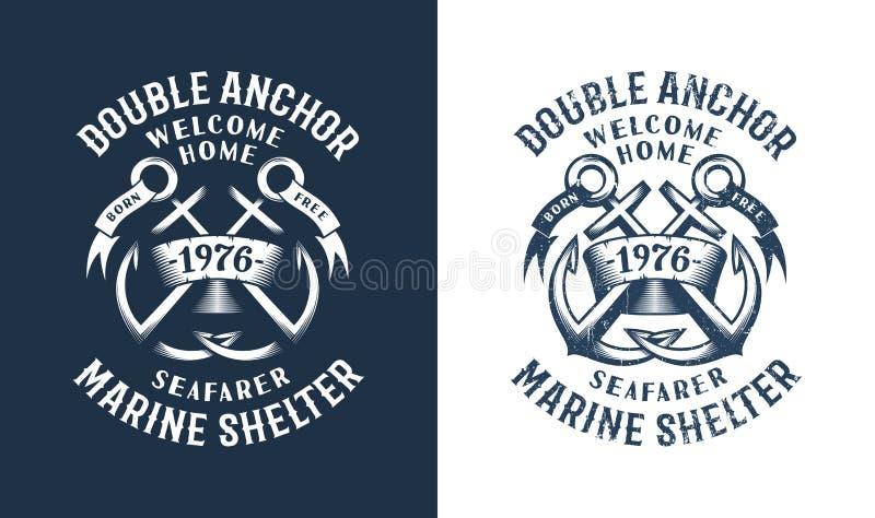 Emblema retro del mar con las anclas cruzadas ilustración del vector