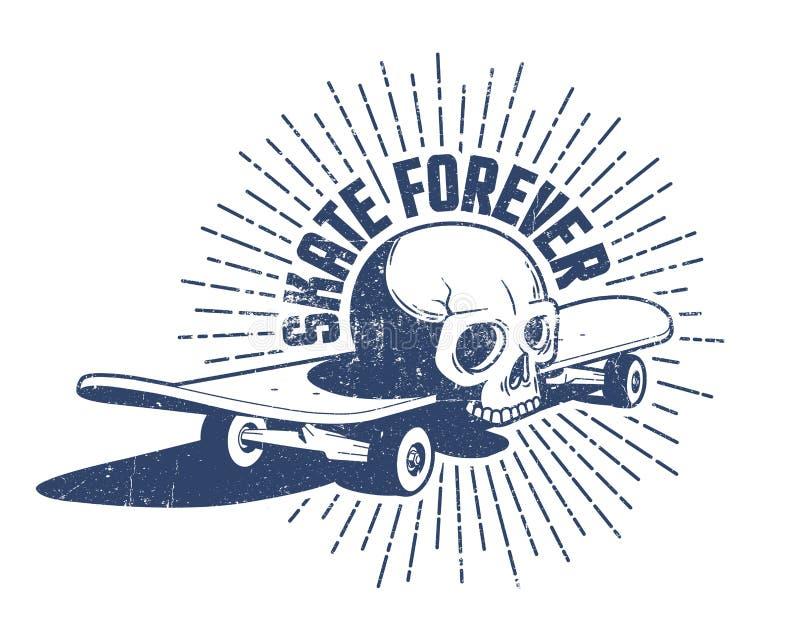 Emblema retro do crânio e do skate ilustração do vetor