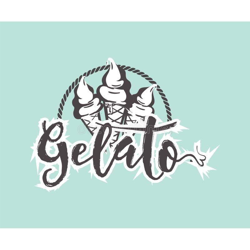 Emblema retro do logotipo de Gelato ilustração do vetor