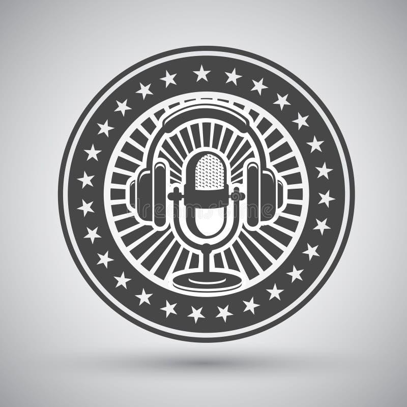 Emblema retro do microfone e dos fones de ouvido ilustração stock