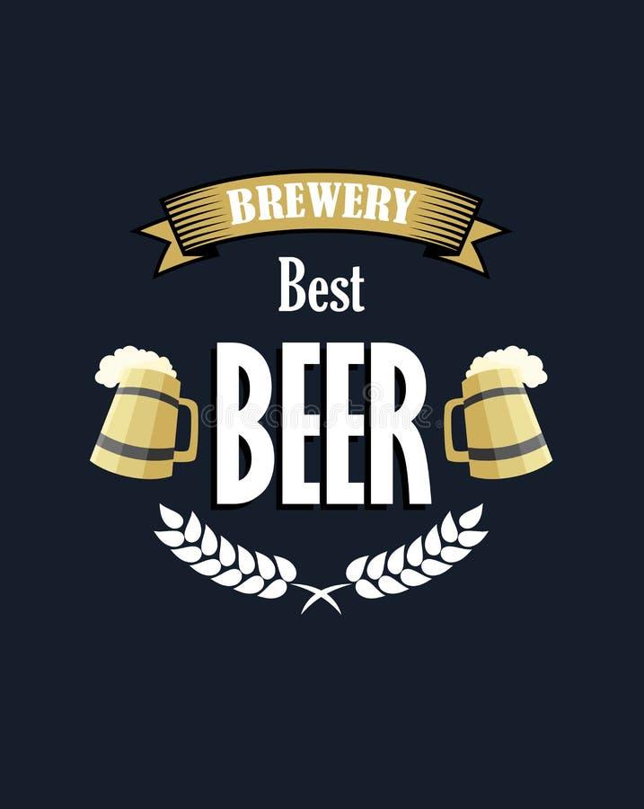 Emblema retro ou bandeira da cerveja ilustração stock