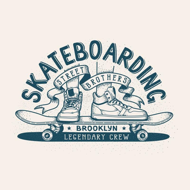 Emblema retro Skateboarding ilustração do vetor