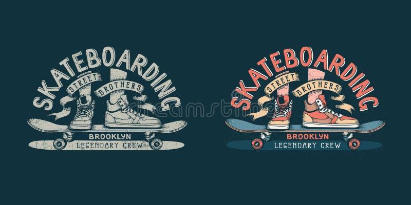 Emblema retro Skateboarding de Brooklyn com pés nas sapatilhas e no skate ilustração do vetor