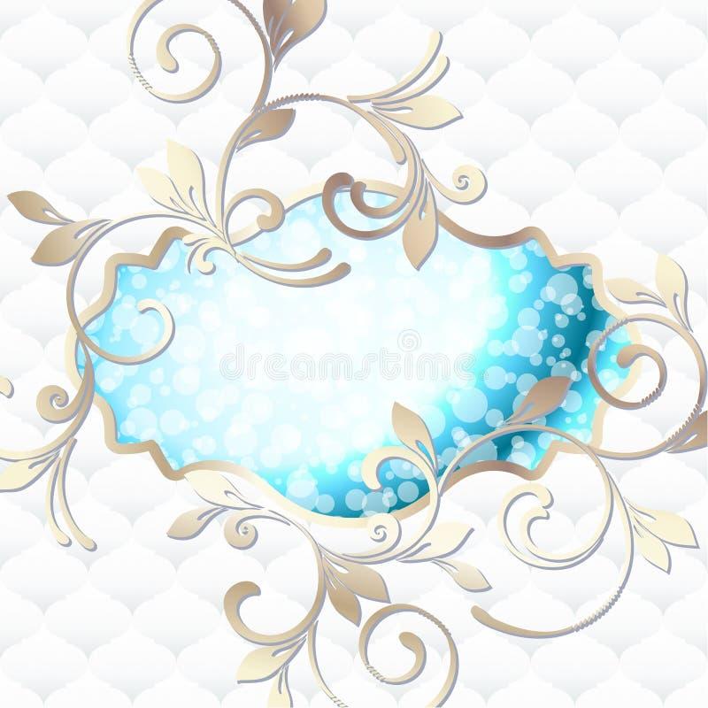 Emblema rococo elegante in azzurro vibrante su bianco illustrazione vettoriale