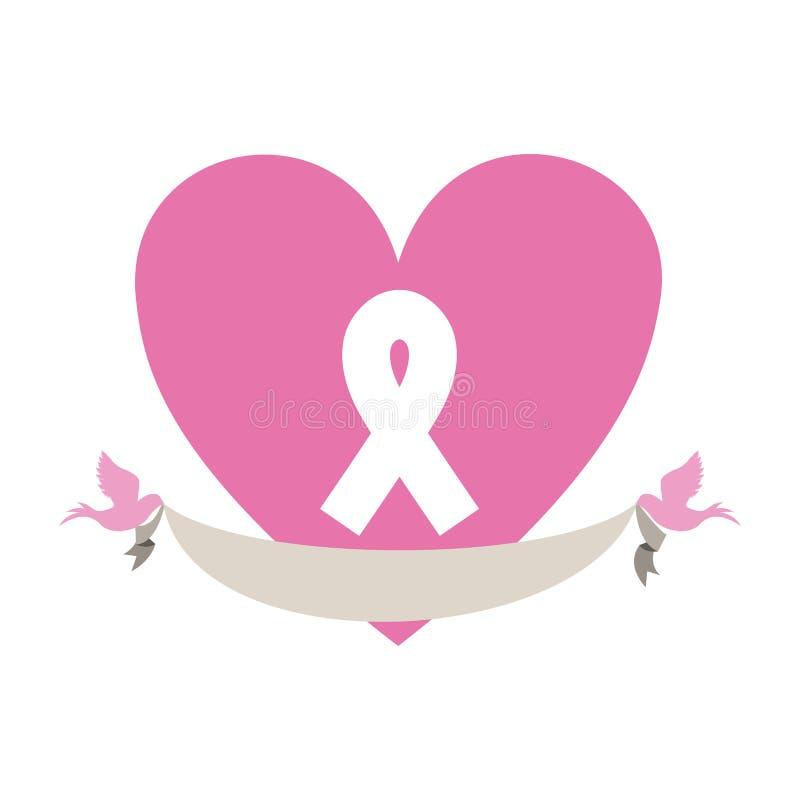 emblema rosa del cuore con il cancro al seno ed i piccioni di simbolo con l'etichetta illustrazione di stock
