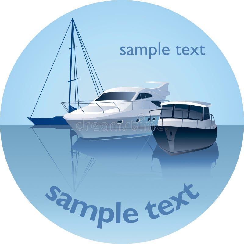 Emblema rotondo con gli yacht royalty illustrazione gratis