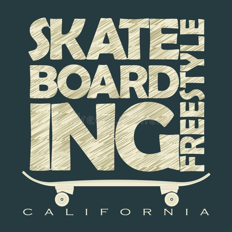 Emblema Skateboarding do t-shirt ilustração do vetor