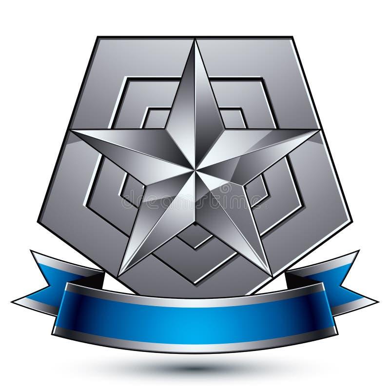 Emblema sofisticado do vetor com a estrela lustrosa de prata e wav azul ilustração royalty free