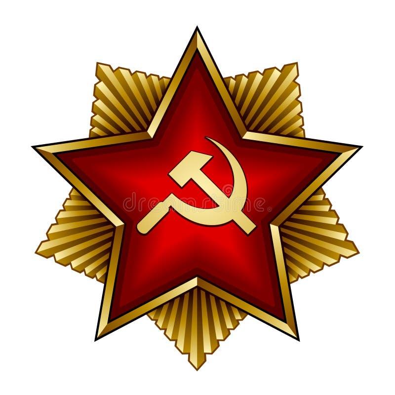 Emblema soviético dourado - sickle e martelo vermelhos da estrela ilustração stock