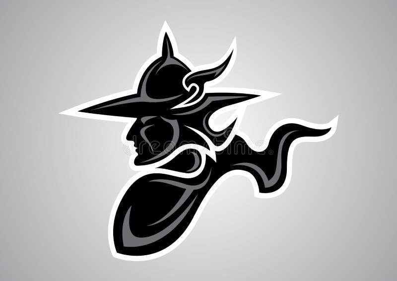 Emblema tailandese di vettore di logo del tatuaggio di muaythai del guerriero immagini stock libere da diritti