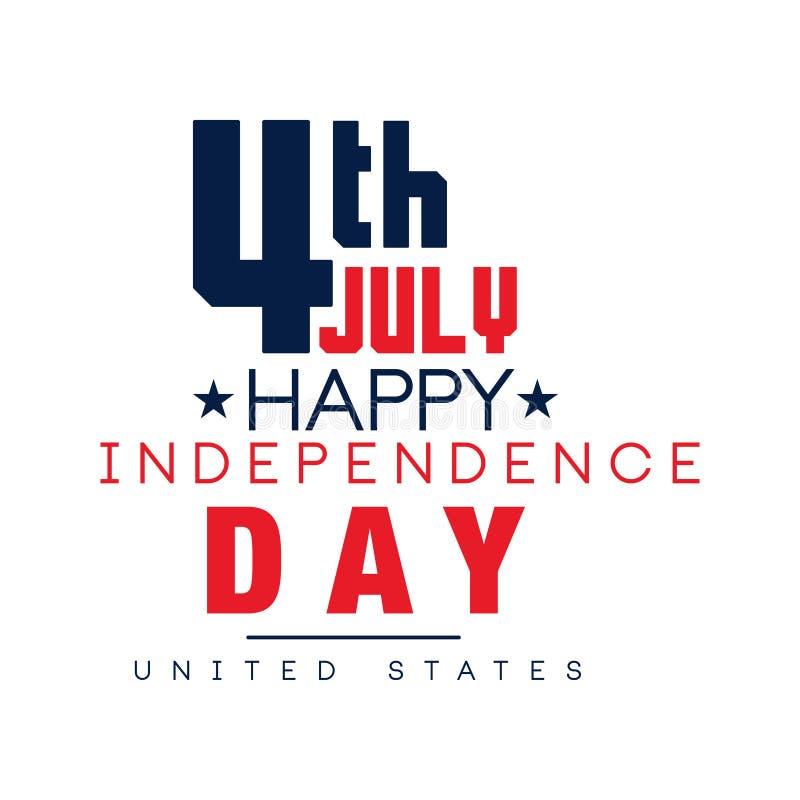 Emblema tipográfico creativo de la festividad nacional americana Fondo del grunge de la independencia Day Feliz el 4 de julio Dis stock de ilustración