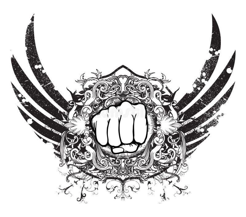 Emblema urbano con el puño ilustración del vector