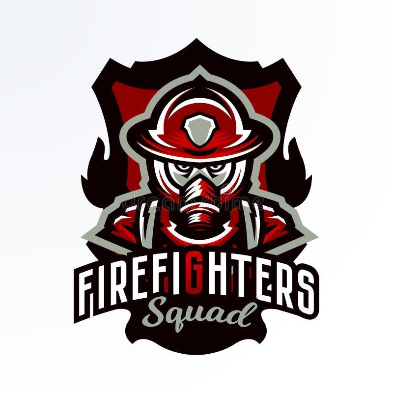 Emblema variopinto, autoadesivo, distintivo, logotype di un pompiere in una maschera antigas Unità di salvataggio, attrezzatura p illustrazione vettoriale